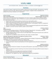 Teaching Resume Inspiration Chinese Teacher Resume Sample Teacher Resumes LiveCareer