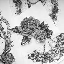 оригинальный универсальный эскиз тату цветы 105