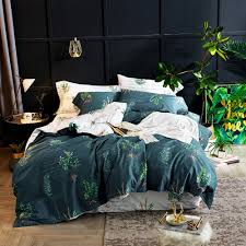 2018 simple dark green leaves bed cover soft egyptian cotton duvet cover set queen king bedlinens
