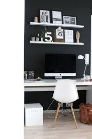 mens home office ideas. black wall with white shelving mens small home office ideas h