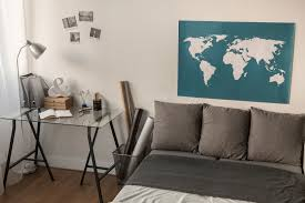 apartment furniture layout ideas. Fine Ideas Apartment Bedroom With World Map On The Wall Throughout Furniture Layout Ideas
