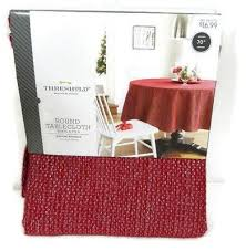 threshold round tablecloth red silver metallic weaved cover 70 new