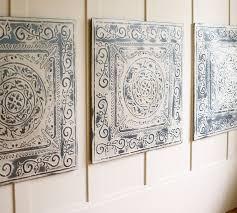 on vintage metal art wall decor with vintage tin tiles set of 3 pottery barn
