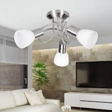Wohnling 3 Flammige Silbernfarbene Deckenlampe Eek A Fassung E14