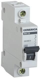 <b>Выключатель автоматический</b> Generika ВА47-29 <b>1Р 40А</b> 4,5кА х ...