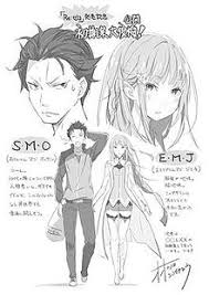 a drawing of subaru and emilia side by side with close ups of their early concept art