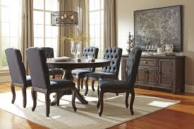 signature design ashley dining room sets dark wood dining table and chairs