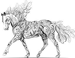 Stress Relief Coloring Pages Animals Horse Download Adult Colori On