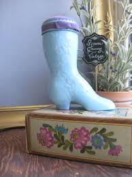 avon pin cushion victorian boot pin cushion avon blue milk glass shoe vintage avon perfume bottle