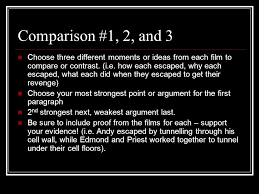 count of monte cristo versus shawshank redemption ecm  comparison 1 2 and 3 choose three different moments or ideas from each
