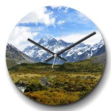 details about large wall clock silent landscape new zealand mountains 1 modern scenic scenery