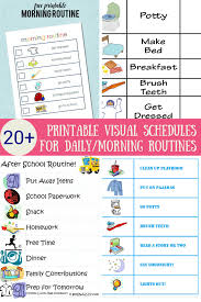 Kids Daily Routine Chart 33 Printable Visual Picture Schedules For Home Daily