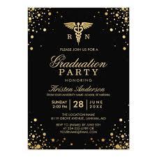 Graduation Party Announcement Black Gold Medical Nursing School Graduation Party Invitation