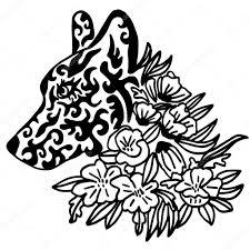 花による細かいと高品質オリジナルのメスの狼のタトゥー ストック