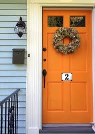 Orange front door Paint Colors Orange Door With Pale Blue Or Pale Gray Siding Love It Light Green House Pinterest 100 Best Orange Doors Images Orange Door Orange Front Doors