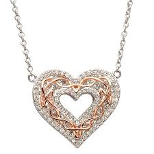 celtic heart with rose gold encrusted with swarovski crystal