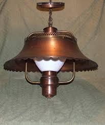 vintage copper farmhouse ceiling light fixture hanging lamp milk glass globe