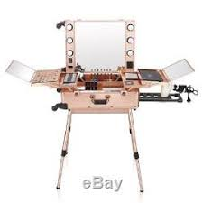 ovonni led lighted rolling portable makeup station lc004 case pink