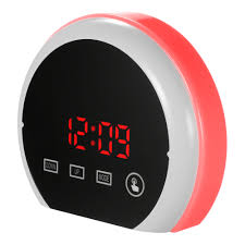 digital led touch mirror temperture alarm clock usb battery operated 12h 24h c f display rgb color light alarm clock with dual usb ports red