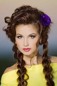smart brunette with daily make up and fashion hairstyle