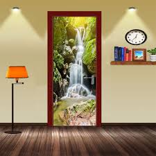 Mountain Decor Accessories Creative DIY 100D Door Stickers Mountain Waterfall Design for Room 61