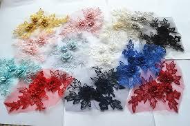 <b>10Pieces</b>/lot `3D color <b>wedding dress lace</b> applique DIY craft flower ...