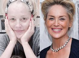 sharon stone from stars without makeup doing my emails with joe on this rainy day sharonstone the actress said on insram