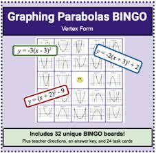 Bingo Graphing Quadratics Parabolas In Vertex Form