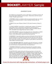Apartment Lease Agreement Form Apartment Rental Lease Sample