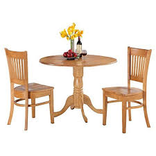 east west furniture dublin 3 piece drop leaf dining table set with vancouver wooden seat chairs brown