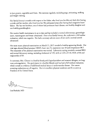 hillary rodham clinton letter of health