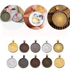 10pcs necklace pendant cabochon tray cameo base bezel blank fit jewelry making