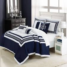 navy and white bedding sets with blue accent