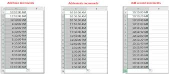 6 Minute Increment Chart How To Add Time With Hours Minutes Seconds Increments In Excel