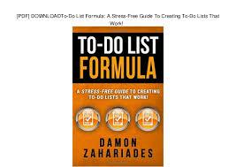 Pdf Downloadto Do List Formula A Stress Free Guide To