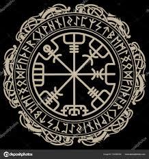 викинг дизайн магические руны компас Vegvisir в круг норвежских