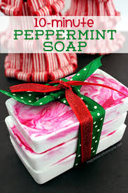 These lightning quick peppermint soaps are a fun DIY holiday gift idea for  friends, neighbors