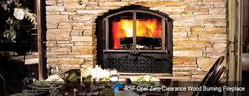 rsf opel zero clearance wood burning fireplace beige stone