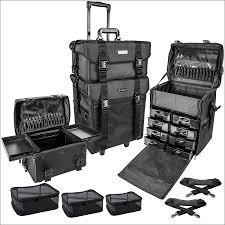 shany soft makeup artist rolling trolley cosmetic case with free set of mesh bags jet black walmart