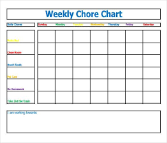 Weekly Chore List Template 30 Weekly Chore Chart Templates Doc Excel Free