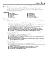 Unforgettable Automotive Customer Service Advisor Resume Examples On