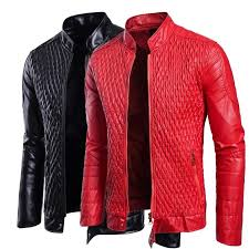 details about crinkle leather jacket men slim fit autumn winter hot red black pu leather coat
