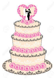 Wedding Cake With Couple Heart And Roses Royalty Free Cliparts