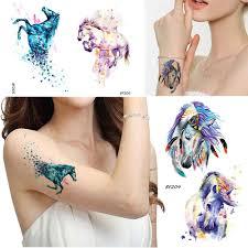 синий акварель лошадь временная татуировка женская бабочка перо
