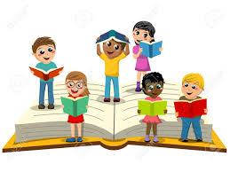 multiracial kids or children reading on big open book isolated stock vector 74953625