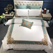 oriental embroidered luxury egyptian cotton white royal bedding set queen king size hotel bedding sets duvet cover bed sheet set duvet cover full duvet king
