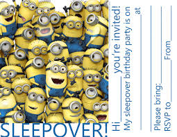 Minions Party Invitations For Sleepover Party Minions Despicable Me Party