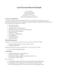 Loan Processor Resume Example Penza Poisk