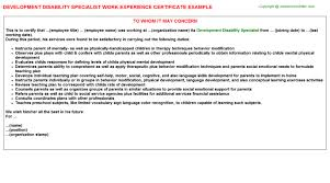Disability Work Experience Certificates Experience Letters