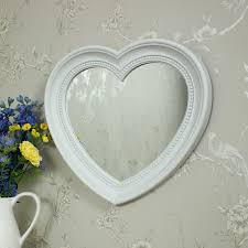 large white heart wall mirror